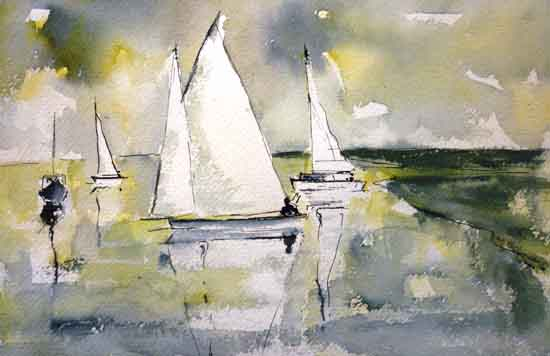 Boats pen and watercolour